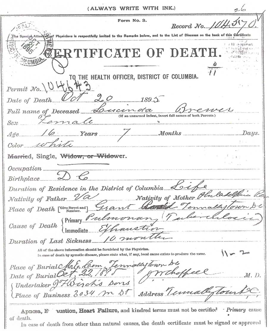 Methodist cemetery tenleytown death certificate family search 1betcityfo Gallery